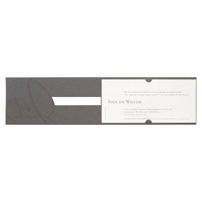 Grijze kaart met wit inlegvel en 'ja wij trouwen' in foliedruk  (100.110)
