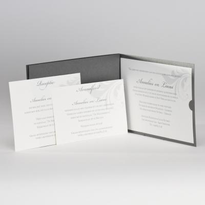 Trendy staalgrijze huwelijkskaart  (104.011)