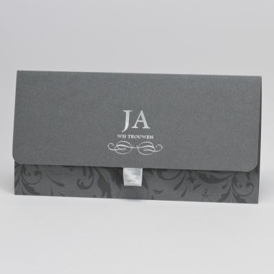 Staalgrijs handtasje met barokmotief en zilverfolie - JA  (104.072)