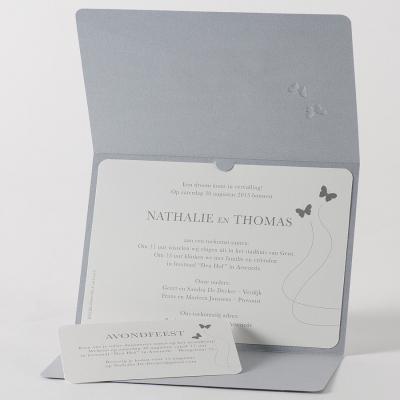 Zilverkleurige pochette met vlinders in zilverfolie - JA (105.048)