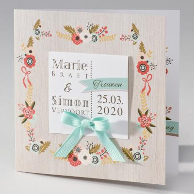 Huwelijkskaart met kleurrijke bloemen op houtlook (106.035)
