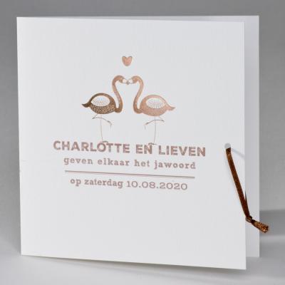 Luxe huwelijkskaart met flamingo's in foliedruk (106.046)