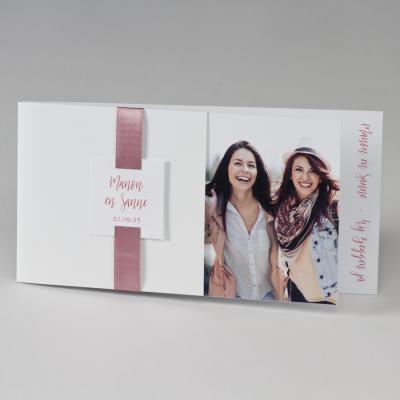 Blanco fotokaart met roze lint (108.034)