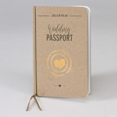 Kraft paspoort met hart in koperfolie - ENG (108.044)