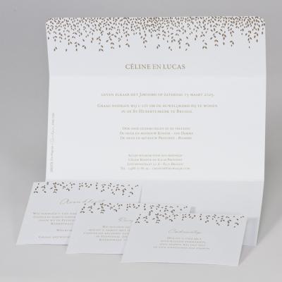 Mintgroene huwelijksaankondiging met blaadjes in goudfolie (108.070)