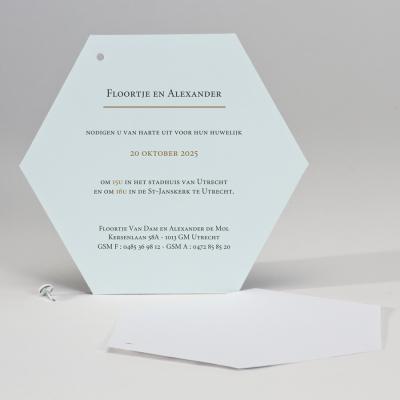 Trendy huwelijkskaart in marmerlook met mint (108.120)