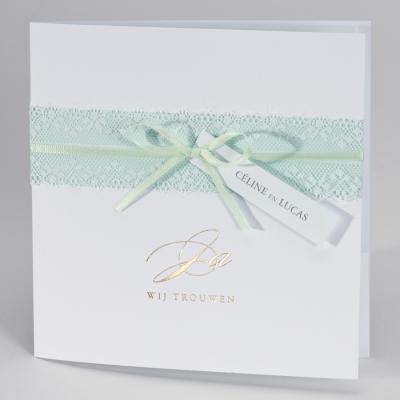Vierkante huwelijksaankondiging met kanten lint JA WIJ TROUWEN - mint (108.186)