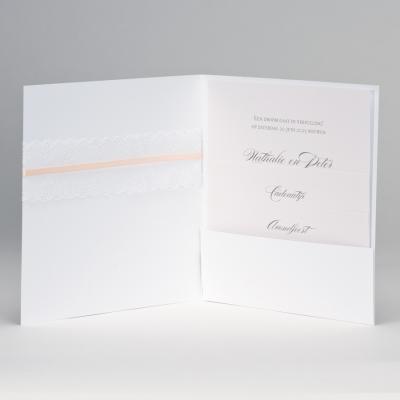 Vierkante huwelijksaankondiging met kanten lint JA WIJ TROUWEN - roze (108.187)