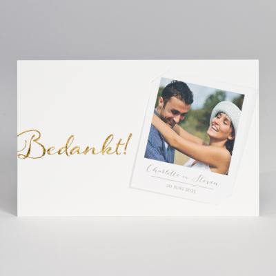 Dankkaart in wit luxe papier met polaroid - bedankt (128.910)