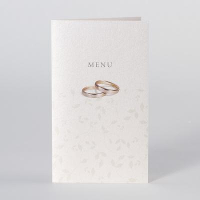 Menukaart met bloemmotief en trouwringen (205.053)