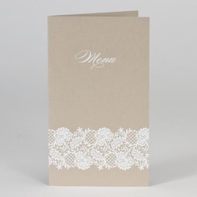 Bruine menukaart met wit kantmotief (208.061)