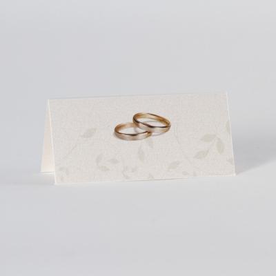 Tafelkaartje met bloemmotief en trouwringen (225.053)