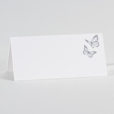 Wit tafelkaartje met vlinders in zilverfolie (226.071)