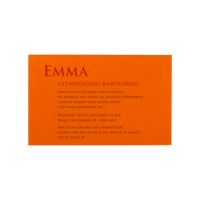 Trendy uitnodigingskaartje oranje (313.503)