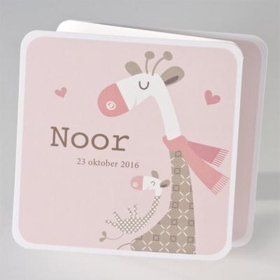 Drieluikje met schattige girafjes - roze (505.034)