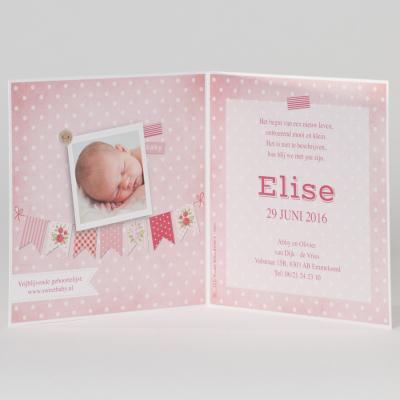 Fotokaart met roze vlaggen en steigerhout (505.112)