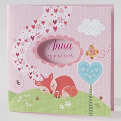 Meisjeskaart met vosje en hartjes (505.118)