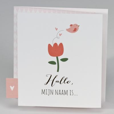 Drieluikje met roze tulp en vrolijk vogeltje (507.002)