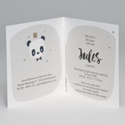 Geboortekaart met panda en gouden kroon (507.008)