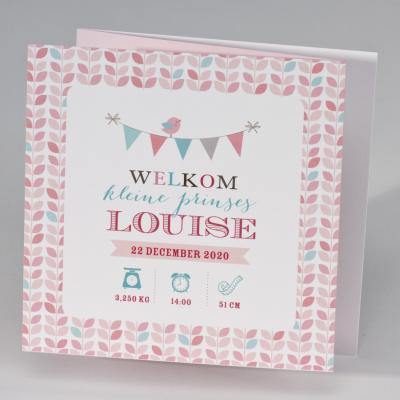 Drieluik fotokaart met kleurrijke vlaggenlijn en bloempatroon (507.023)