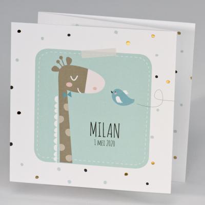 Drieluik giraf met vrolijke stipjes - mint (507.043)