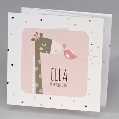 Drieluik giraf met vrolijke stipjes - roze (507.044)