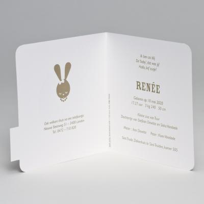 Schattig geboortekaartje retro konijn roze met goudfolie (507.070)