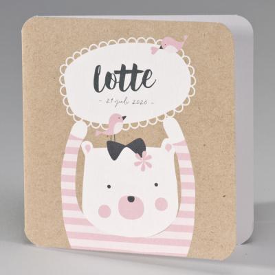 Kraft geboortekaart beer met roze gestreepte trui (507.072)