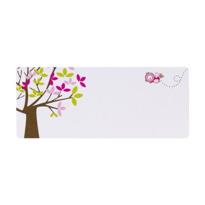 Adresetiket boom met roze en groene blaadjes (574.203)
