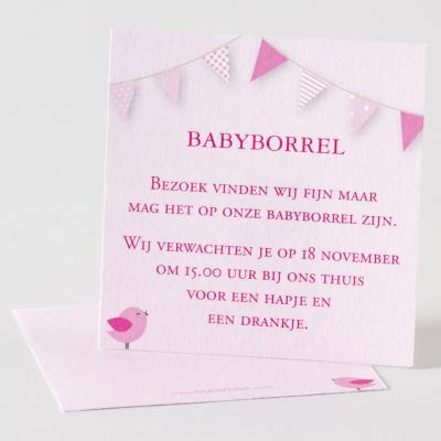 Babyborrelkaartje met roze vlaggen (574.305)