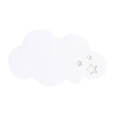 Personaliseerbare sluitzegel witte wolk met sterren in zilverfolie (576.102)