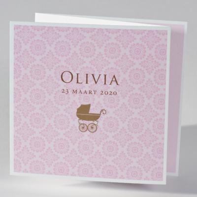 Drieluik fotokaartje met kinderwagen en roze barokmotief (583.023)