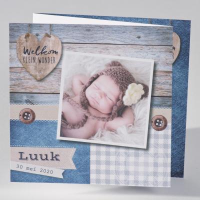 Drieluik met foto, blauw steigerhout en ruitpatroon (586.022)