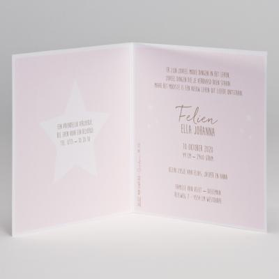 Schitterende geboortekaart met sterren - pink (586.057)