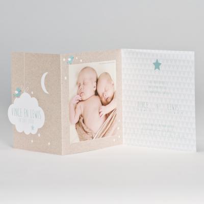 Drieluik fotokaart met kraftlook, mint ruitpatroon en gepreegde wolk (586.074)