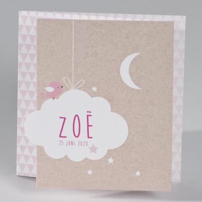 Drieluik fotokaart met kraftlook, roze ruitpatroon en gepreegde wolk (586.075)