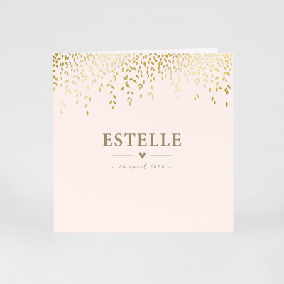 Roze geboortekaartje met blaadjes in goudfolie (589.001)