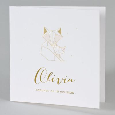 Trendy geboortekaartje met geometrische vos in roze en goudfolie (589.003)