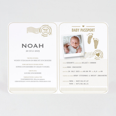 Kraft paspoort geboortekaartje met stempel in koperfolie (589.024)