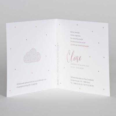 Wit geboortekaartje met wolk in roségoudfolie (589.035)