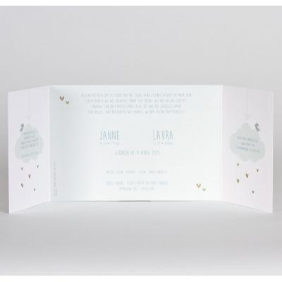 Drieluik tweelingkaart mint met goudfolie (589.040)