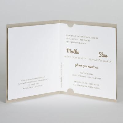 Tweeling geboortekaart sand papier met goudfolie (589.063)