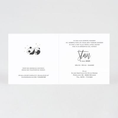 Trendy geboortekaart met geometrische panda en koperfolie (589.096)