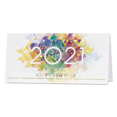 Kleurrijke zakelijke wenskaart 2021 en goudfolie (840.037)