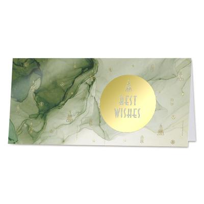 Nieuwjaarskaart met groene sluier en Best Wishes in goudfolie  (840.040)