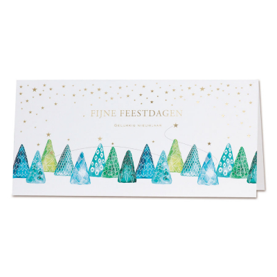 Witte kaart met sterretjes in goudfolie en gekleurde kerstbomen (847.064)