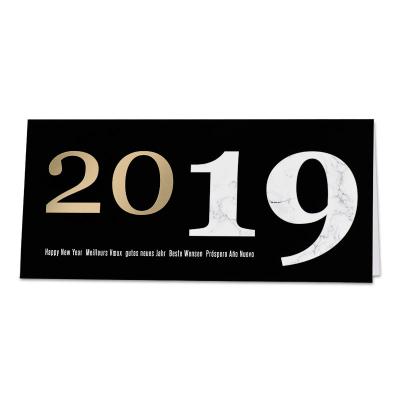 Zwarte nieuwjaarskaart met marmermotief (848.022)