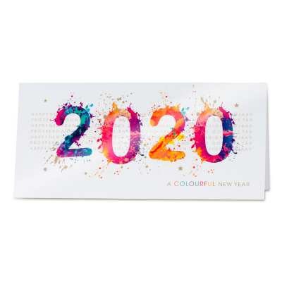 Kleurrijke nieuwjaarskaart met 2020 in verfspatten (849.001)