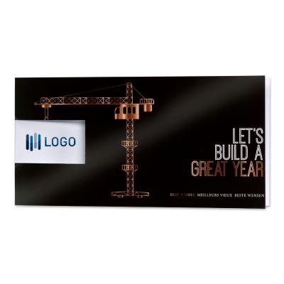 Zwarte kerstkaart bouwkraan met venster voor logo - ENG (849.023)