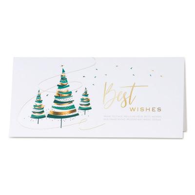 Witte kerstkaart met hippe kerstbomen in goud en groen (849.027)